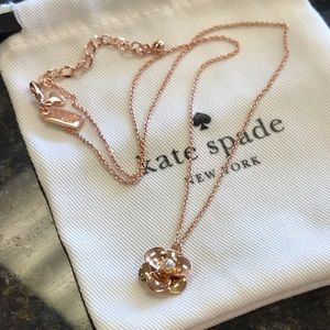Kate Spade Rose gold Pave Pick a Posey Necklace